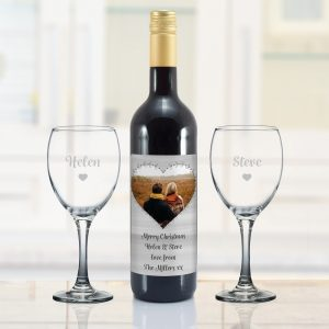 Personalised Heart Photo Upload Mulled Wine Gift Set