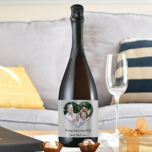Personalised Heart Photo Upload Prosecco