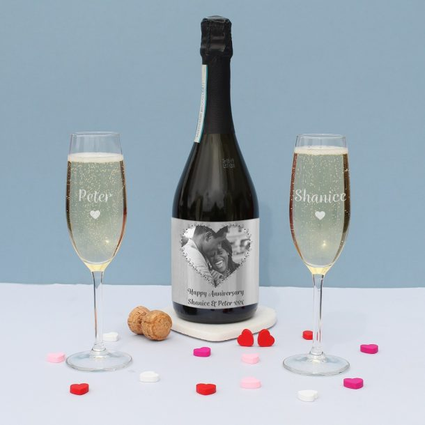 Personalised Heart Photo Upload Prosecco Gift Set