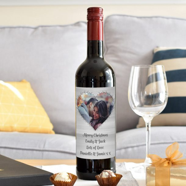 Personalised Heart Photo Upload Red Wine