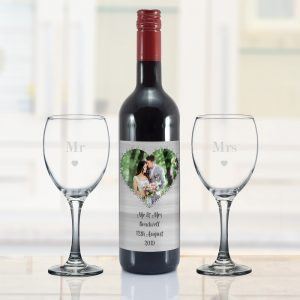 Personalised Heart Photo Upload Red Wine Gift Set