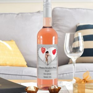 Personalised Heart Photo Upload Rose Wine