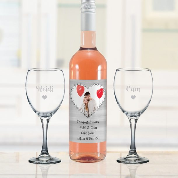 Personalised Heart Photo Upload Rose Wine Gift Set