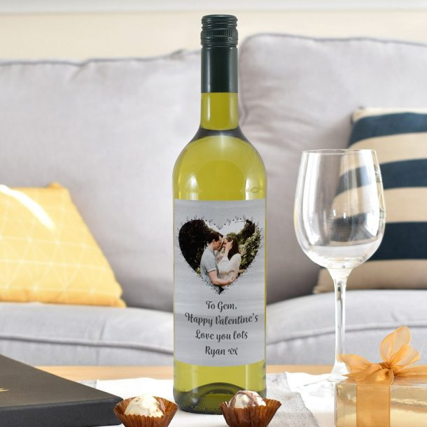 Personalised Heart Photo Upload White Wine