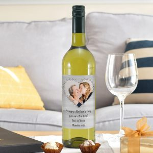 Personalised Heart Photo Upload White Wine