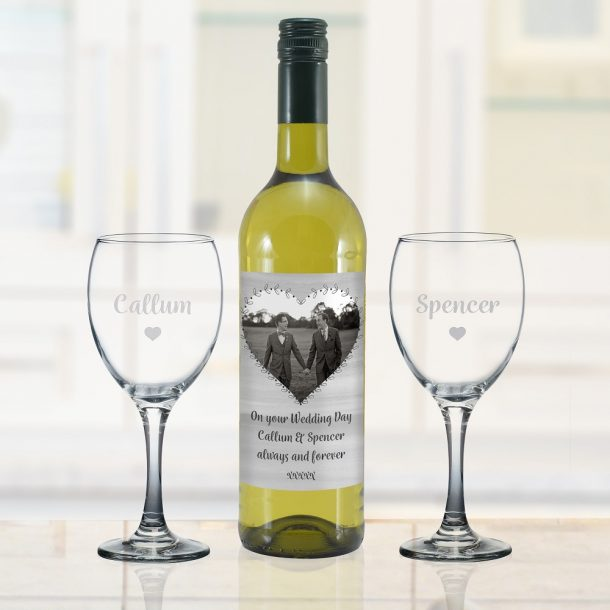 Personalised Heart Photo Upload White Wine Gift Set