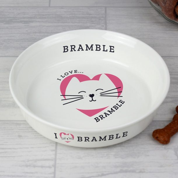 Personalised I Love my Cat Small Ceramic White Pet Bowl