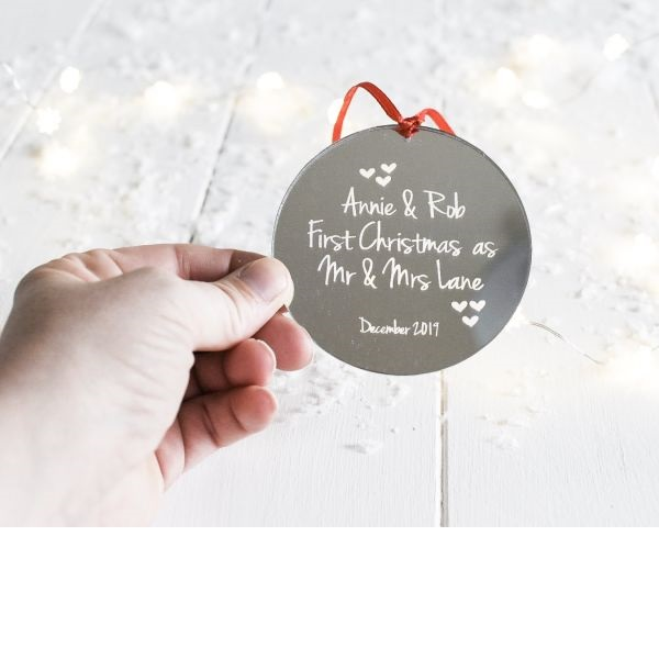 Personalised Our First Christmas Married Mirrored Decoration