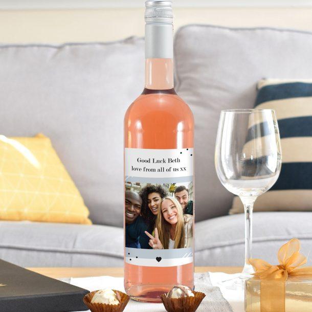 Personalised Photo Upload Rose Wine