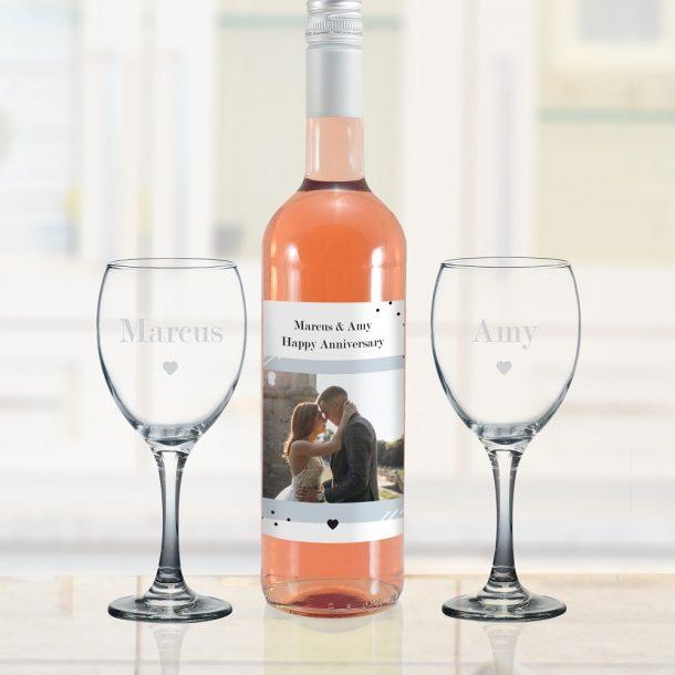 Personalised Photo Upload Rose Wine Gift Set