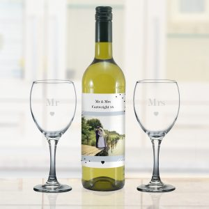 Personalised Photo Upload White Wine Gift Set