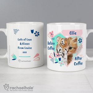 Personalised Rachael Hale Before Coffee & After Coffee Cat Mug