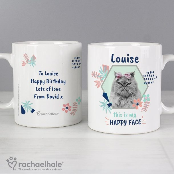 Personalised Rachael Hale Happy Face Cat Mug