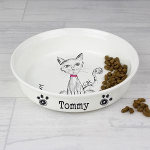Personalised Scribble Cat Bowl
