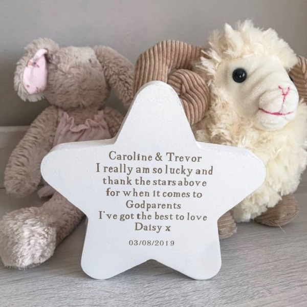 Personalised Thank The Stars Above Godparent Freestanding Star