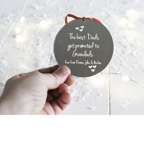 Personalised The Best Dads Get Promoted Mirrored Decoration