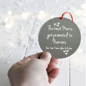 Personalised The Best Mums Get Promoted Mirrored Decoration