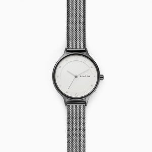 Skagen Ladies Anita Two-Tone Ripple-Mesh Watch