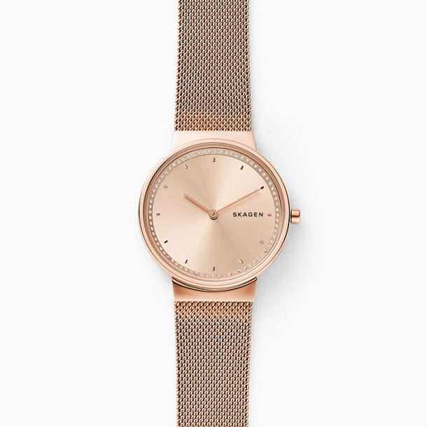 Skagen Ladies Annelie Rose-Tone Steel-Mesh Watch