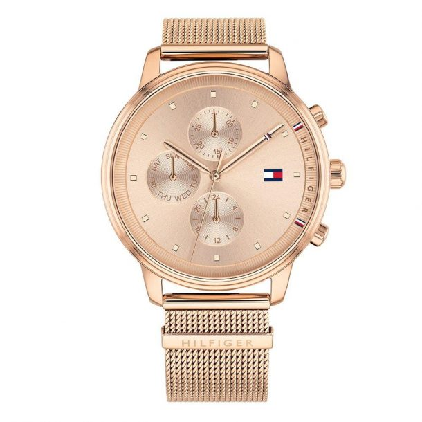 Tommy Hilfiger Ladies Rose Gold Plated Mesh Watch