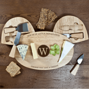 Personalised Importance Of Age Wooden Cheese Board Set