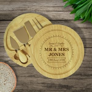Personalised Mr & Mrs Cheese Board & Knives Set