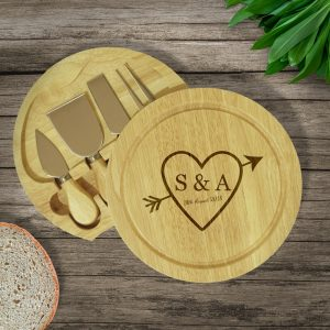 Personalised Sketch Heart Cheese Board & Knives Set