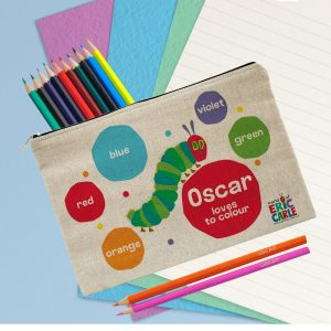 Personalised Very Hungry Caterpillar Loves To Colour Pencil Case & Pencils