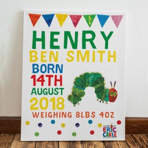 Personalised Very Hungry Caterpillar New Arrival Canvas