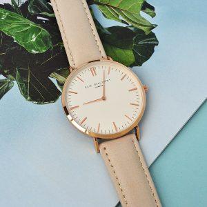 Personalised Ladies Modern Stone Leather Watch