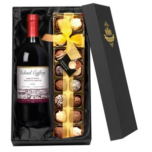Personalised Red Wine & Chocolates
