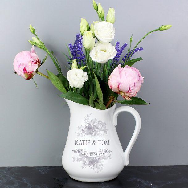 Personalised Vintage Floral Ceramic Flower Jug
