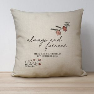 Personalised Always and Forever Linen Cushion