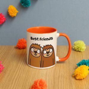 Personalised Best Friends Sloth Orange Inside Mug