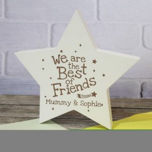 Personalised Best Of Friends Wooden Star Plaque