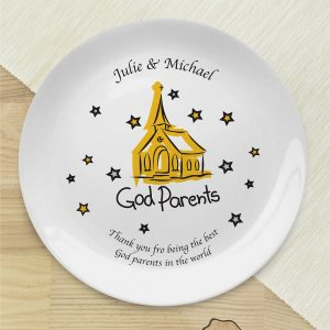 Personalised Church Godparents Bone China Plate