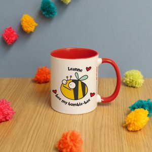 Personalised Flossy and Jim Bumble-Bae Red Inside Mug