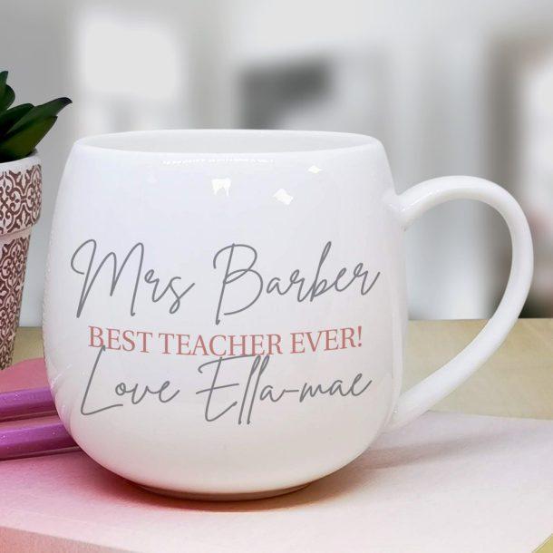 Personalised Grey & Blush Hug Mug