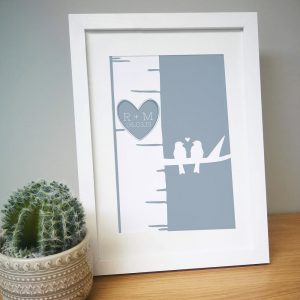 Personalised Grey Love Birds A4 Framed Print
