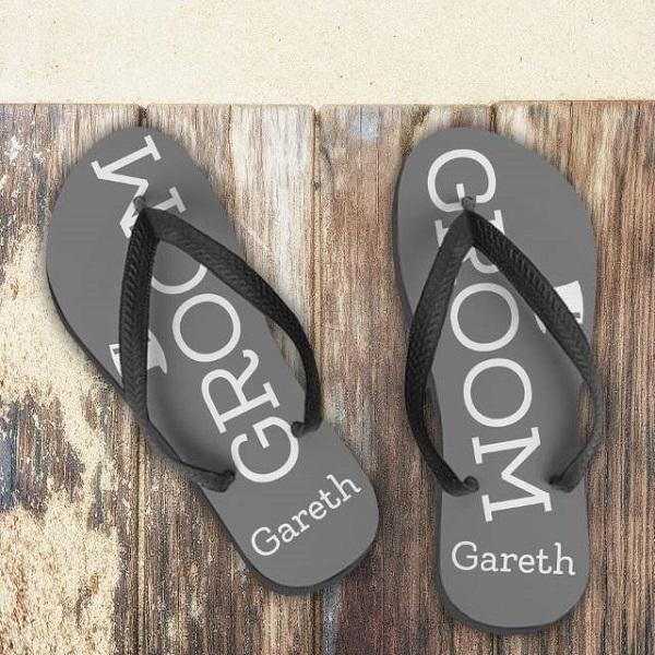 Personalised Groom Flip Flops