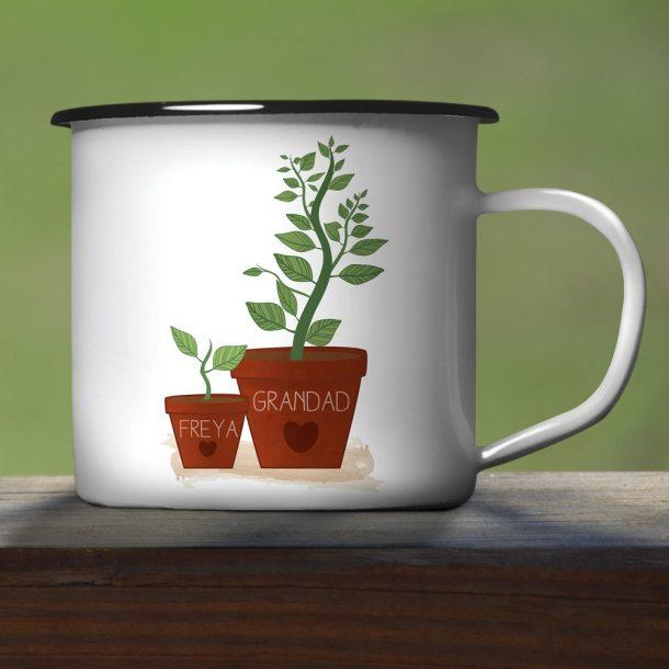 Personalised Helping Me To Grow Enamel Mug