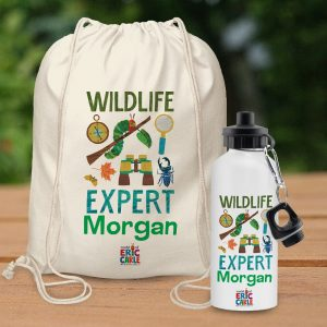 Personalised Hungry Caterpillar Wildlife Expert Bag & Drinks Bottle Set