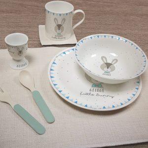 Personalised Little Bunny Blue Breakfast Set