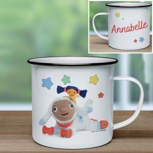 Personalised Moon and Me Little Nana & Lambkin Enamel Mug