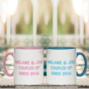 Personalised Neon Coloured Mug Set