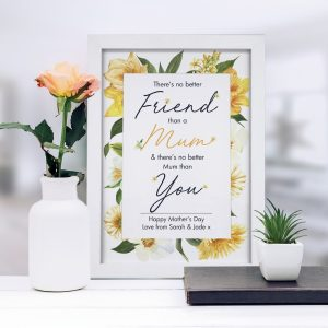 Personalised No Better Friend Than A Mum A4 Framed Print