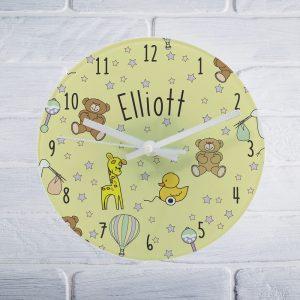 Personalised Nursery Scene Glass Clock