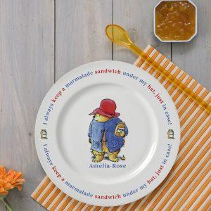 Personalised Paddington Bear Marmalade Sandwich Plate