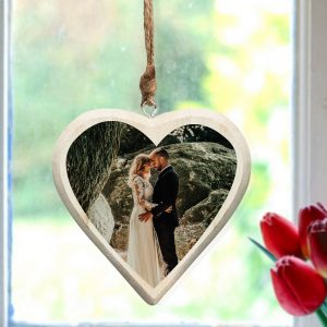 Personalised Photo Upload Wooden Hanging Heart