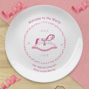 Personalised Pink Rocking Horse Plate